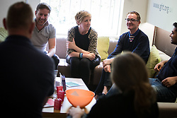 "© Licensed to London News Pictures . 15/05/2015 . Manchester , UK . Julie Hesmondhalgh meets support service volunteers at George House Trust . Actress Julie Hesmondhalgh and food critic and broadcaster Jay Rayner join the first graduates from the ""Food for Life"" course at George House Trust . The project works with people in Manchester who are living with HIV to improve nutritional knowledge and cooking skills by delivering a practical hands-on short course . 'Food for Life' has been delivered by Manchester based HIV charity George House Trust, working in partnership with London based charity The Food Chain and supported by Manchester City Council . For more information see http://tinyurl.com/podjhqz .  Photo credit : Joel Goodman/LNP"