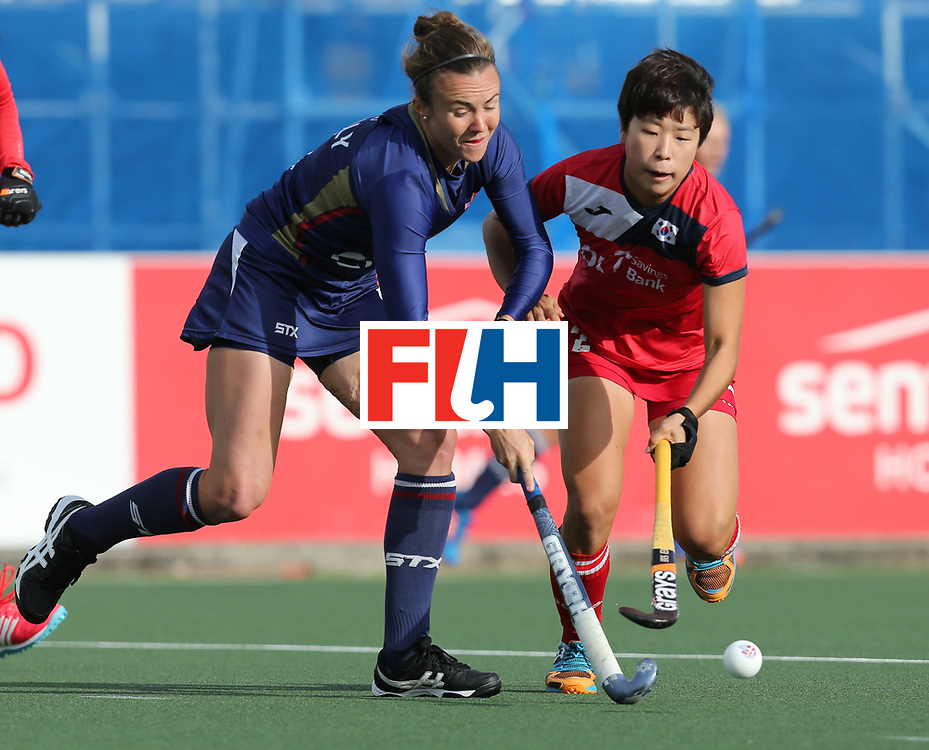 New Zealand, Auckland - 17/11/17  <br /> Sentinel Homes Women&rsquo;s Hockey World League Final<br /> Harbour Hockey Stadium<br /> Copyrigth: Worldsportpics, Rodrigo Jaramillo<br /> Match ID: 10291 - USA vs KOR<br /> Photo: (4) SHEALY Loren against (2) CHA Yesol