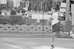 June 23, 2018 - L'Aquila, Italy - (EDITORS NOTE: Image has been converted to black and.white.) Thiago Monteiro during match between Thiago Monteiro (BRA) and Paolo Lorenzi (ITA) during Men Semi-Final match at the Internazionali di Tennis Citt dell'Aquila (ATP Challenger L'Aquila) in L'Aquila, Italy, on June 23, 2018. (Credit Image: © Manuel Romano/NurPhoto via ZUMA Press)