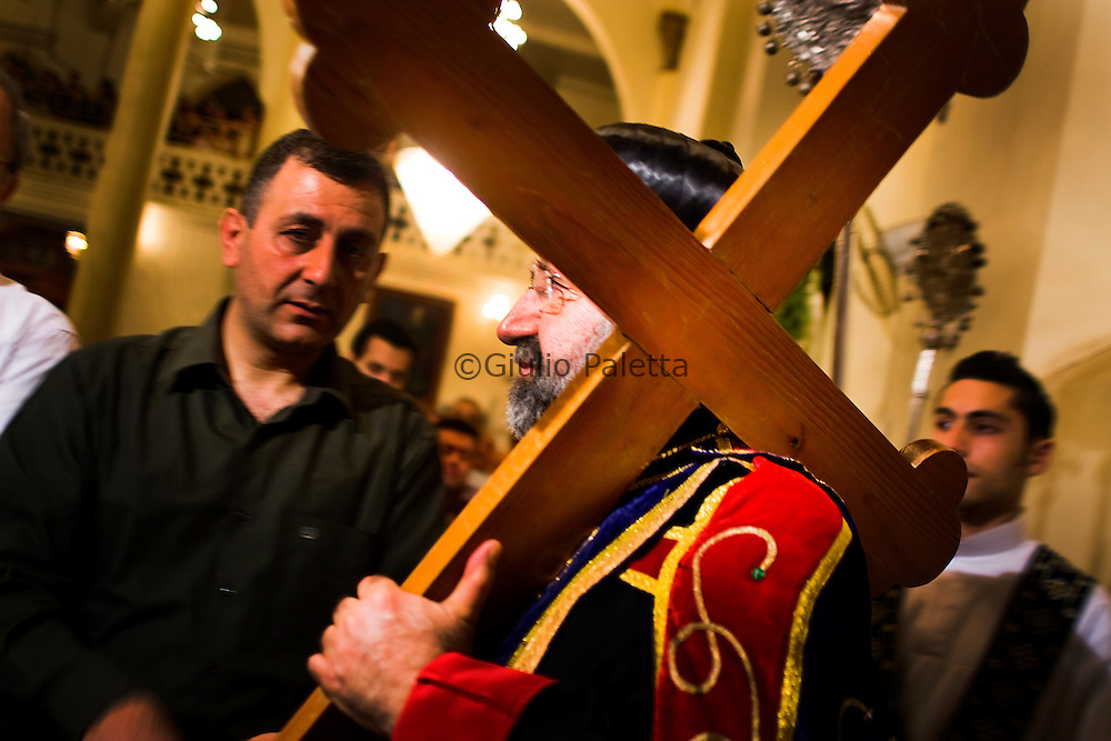 Easter Celebrations at Saint George church in Aleppo celebrated by the Bishop of Aleppo. In April 2012 the Bishop of Aleppo was kidnapped by the rebel forces near the border with Turkey. Since then, there hasn't been any news about him