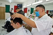 Apr. 27, 2009 -- NOGALES, SONORA, MEXICO: Alfonso Lopez, a barber in Meny's barbershop in Nogales, Sonora, Mexico, cuts a customer's hair while he wears a mask to protect him from the swine flu. The Mexican government broadened its efforts to control the outbreak of swine flu Monday closing schools throughout the country. In Nogales, on Mexico's northern border with the US, people started wearing masks as news of the outbreak spread.  Photo by Jack Kurtz