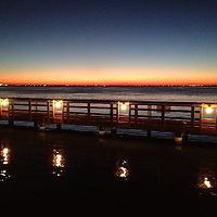 Twilight over the pier at Snoopy's on the Laguna Madre in Corpus Christi, TX.