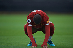 KIRKBY, ENGLAND - Saturday, August 10, 2019: Liverpool's Rhian Brewster looks dejected after missing a chance during the Under-23 FA Premier League 2 Division 1 match between Liverpool FC and Tottenham Hotspur FC at the Academy. (Pic by David Rawcliffe/Propaganda)