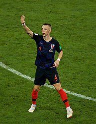 MOSCOW, RUSSIA - Wednesday, July 11, 2018: Croatia's Ivan Perišić celebrates scoring the first equalising goal during the FIFA World Cup Russia 2018 Semi-Final match between Croatia and England at the Luzhniki Stadium. (Pic by David Rawcliffe/Propaganda)