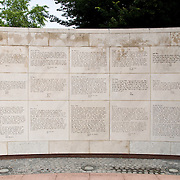 War memorial in the grounds of the Ohio State Capitol. The text consists of letters home from soldiers to their children and wives.