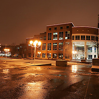 Brampton City Hall glows with a brightly lit Christmas tree and street lights just a couple of nights before Santa arrives.