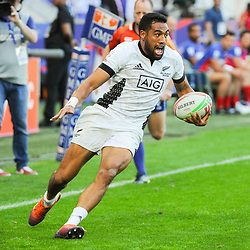 Sione Molia of New Zealand runs to score a try during the match between France and New Zealand at the HSBC Paris Sevens, stage of the Rugby Sevens World Series on June 1, 2019 in Angers, France. (Photo by Sandra Ruhaut/Icon Sport)