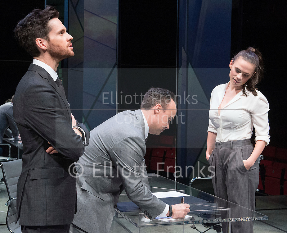 Dry Powder<br /> by Sarah Burgess<br /> Directed by Anna Ledwich at the <br /> Hampstead Theatre, London, Great Britain <br /> 31st January 2018 <br /> Press photocall <br /> Tom Riley as Seth <br /> Joseph Balderrama as Jeff <br /> Hayley Atwell as Jenny<br /> <br /> <br /> Designed by Andrew D Edwards <br /> Lighting by Elliot Griggs<br /> Sound by Max Pappenheim <br /> Video by Ian William Galloway<br /> <br /> Photograph by Elliott Franks
