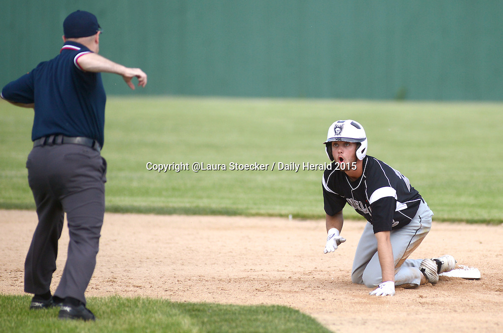 Laura Stoecker/lstoecker@dailyherald.com<br /> Kaneland's Matt Rosko reacts to being called out at second base in the second inning of the Class 3A Sycamore sectional semifinal vs.  Belvidere North Wednesday.