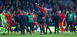 CARDIFF, WALES - Tuesday, November 19, 2019: Wales' captain Gareth Bale celebrates after the final UEFA Euro 2020 Qualifying Group E match between Wales and Hungary at the Cardiff City Stadium where Wales won 2-0 and qualified for Euro 2020. (Pic by Laura Malkin/Propaganda)