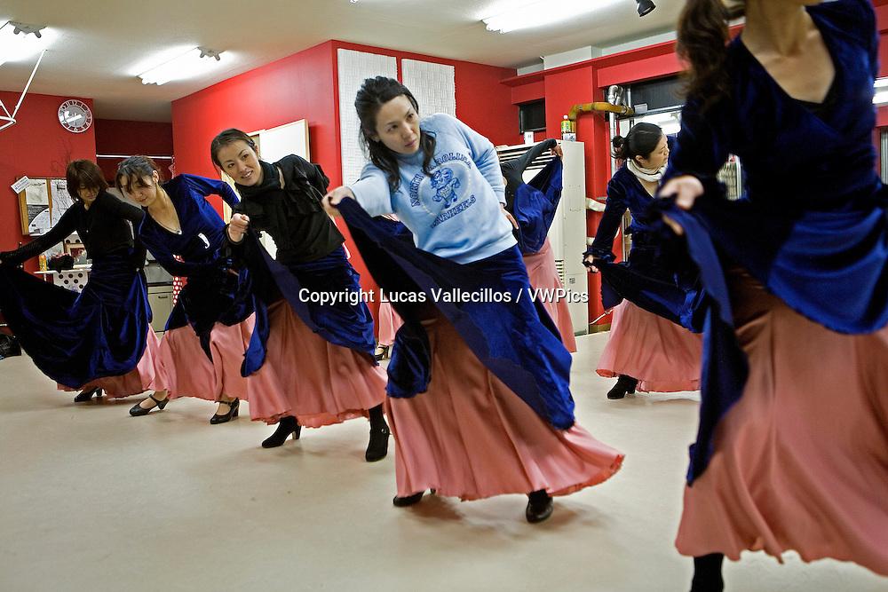 Students of flamenco dance, in the  Kayoko nakata´s dance centre.Morioka,Iwate prefecture,Japan.