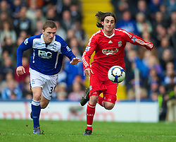 BIRMINGHAM, ENGLAND - Sunday, April 4, 2010: Liverpool's Alberto Aquilani in action against Birmingham City during the Premiership match at St Andrews. (Photo by David Rawcliffe/Propaganda)
