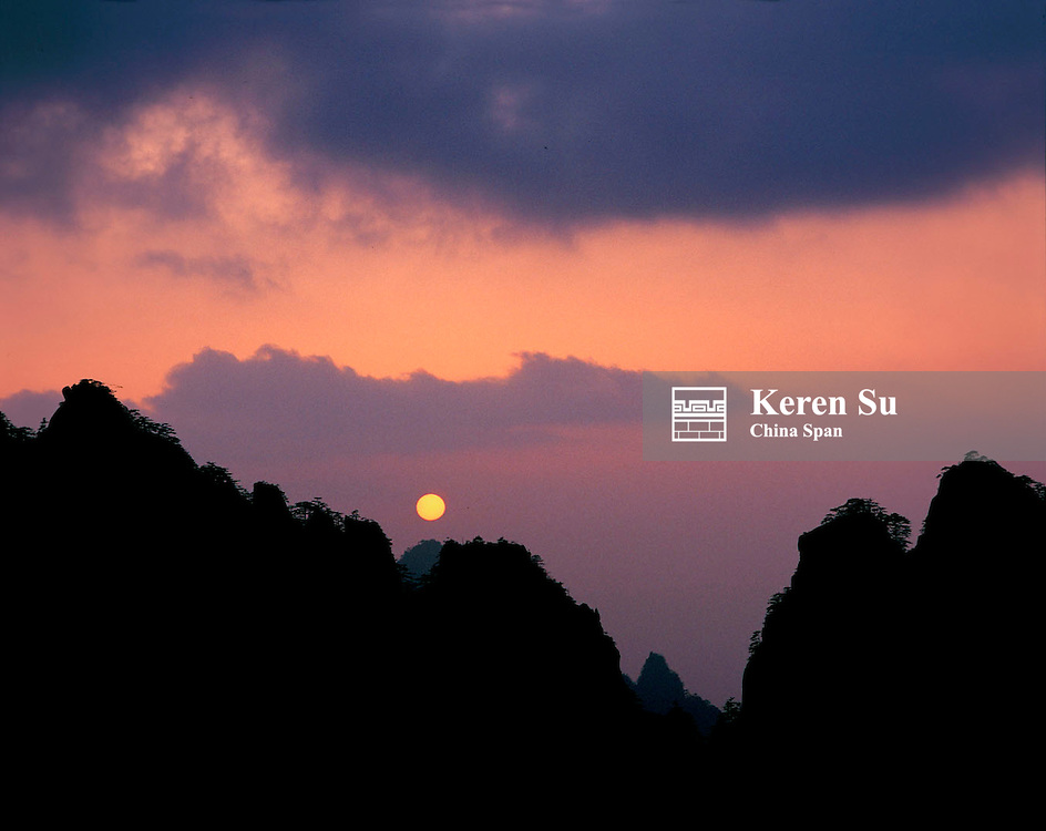 Mountain peaks at sunset, Mt. Huangshan (Yellow Mountain), Anhui Province, China