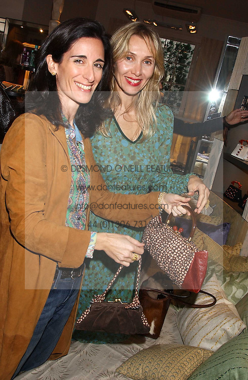 Left to right, PRINCESS KARL VON AUERSPERG-BREUNNER and ALLEGRA HICKS at a lunch at Allegra Hicks, 28 Cadogan Place, London to view their new collection of handbags by F.O.U. on 20th October 2005.<br />