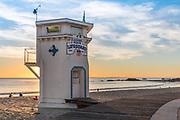 Laguna Beach Lifeguard Tower and Boardwalk at Main Beach During Sunset