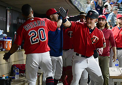 May 18, 2018 - Minneapolis, MN, U.S. - MINNEAPOLIS, MN - MAY 18: Minnesota Twins Outfield Max Kepler (26) celebrates his a 2-run home run in the bottom of the 8th with Minnesota Twins Left field Eddie Rosario (20) during a MLB game between the Minnesota Twins and Milwaukee Brewers on May 18, 2018 at Target Field in Minneapolis, MN. The Brewers defeated the Twins 8-3.(Photo by Nick Wosika/Icon Sportswire) (Credit Image: © Nick Wosika/Icon SMI via ZUMA Press)