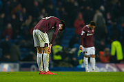 Aaron Hickey (#51) of Heart of Midlothian FC looks dejected after his team lose 5-0 during the Ladbrokes Scottish Premiership match between Rangers FC and Heart of Midlothian FC at Ibrox Park, Glasgow, Scotland on 1 December 2019.