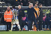 *Fernando Forestieri of Sheffield Wednesday sent of pointed at by Carlos Carvalhal Manager of Sheffield Wednesday during the Sky Bet Championship match between Hull City and Sheffield Wednesday at the KC Stadium, Kingston upon Hull, England on 26 February 2016. Photo by Ian Lyall.