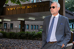 © Licensed to London News Pictures. 22/08/2019. London, UK. John Leslie departs Southwark Crown Court. The former BBC Blue Peter presenter is expected to enter a plea in connection with a charge of sexual assault dating from 2008. Photo credit: George Cracknell Wright/LNP