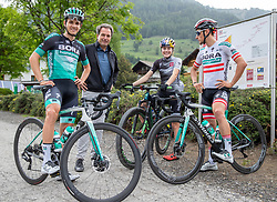 11.06.2019, Kals am Grossglockner, AUT, Laura Stigger Bike Challenge, Pressekonferenz, im Bild Patrick Konrad (BORA Team), Franz Theurl (TVBO), Laura Stigger, Lukas Pöstlberger (BORA Team) // Patrick Konrad (BORA Team),, Franz Theurl (TVBO), Laura Stigger, Lukas Pöstlberger (BORA Team) during a press conference for the Laura Stigger Bike Challenge in Kls am Grossglockner. Austria on 2019/06/11. EXPA Pictures © 2019, PhotoCredit: EXPA/ Johann Groder