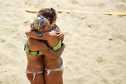 Monika Potokar and Erika Fabjan celebrate during Beach Volleyball Slovenian National Championship 2016, on July 23, 2016 in Kranj, Slovenia. Photo by Matic Klansek Velej / Sportida
