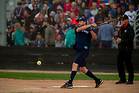 KELOWNA, CANADA - JUNE 28: Matt August of August Luxury Motorcars hits the ball during the opening charity game of the Home Base Slo-Pitch Tournament fundraiser for the Kelowna General Hospital Foundation JoeAnna's House on June 28, 2019 at Elk's Stadium in Kelowna, British Columbia, Canada.  (Photo by Marissa Baecker/Shoot the Breeze)
