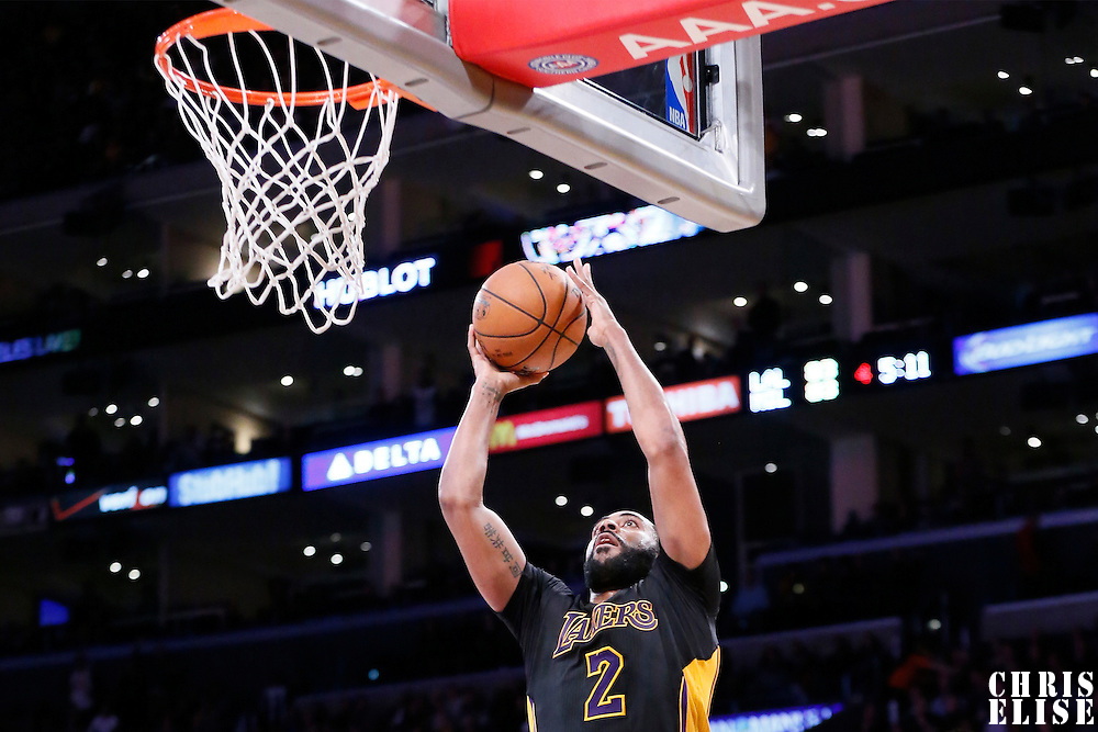 27 February 2015: Los Angeles Lakers guard Wayne Ellington (2) goes for the layup during the Los Angeles Lakers 101-93 victory over the Milwaukee Bucks, at the Staples Center, Los Angeles, California, USA.
