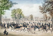The Iron Fountain Pavilion and the Arkadenbau in Bad Kissingen, Germany. lithograph by Christian Weiss and H kuber 1850 Machine colourized historic image