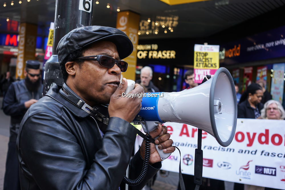 London, UK. 2nd April, 2017. Brian Richardson of Stand Up To Racism speaks at the demonstration against a horrific attack which took place last night 1st April 2017 which attacks by 8 home growth terror gangs left a 17 year old asylum seeker fighting for his life in Croydon. Protestors give a simple message community  should live in fear in out society, London,UK. by See Li