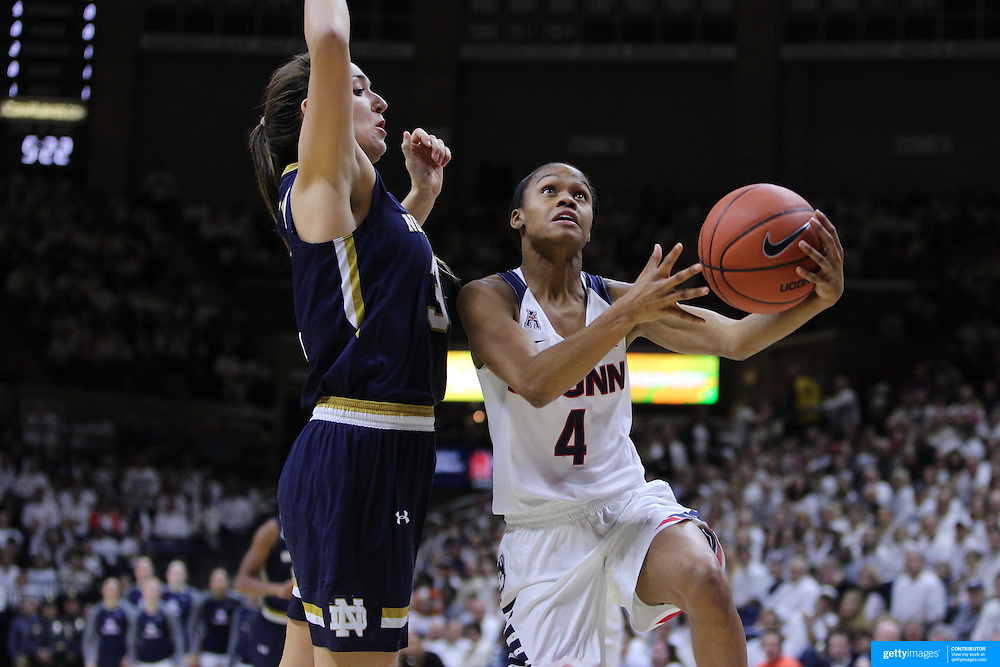 Moriah Jefferson, UConn, drives to the basket past Marina Mabrey, Notre Dame, during the Notre Dame Vs UConn Women's Basketball game at Grampel Pavilion, Storrs, Connecticut, USA. 5th December 2015. Photo Tim Clayton