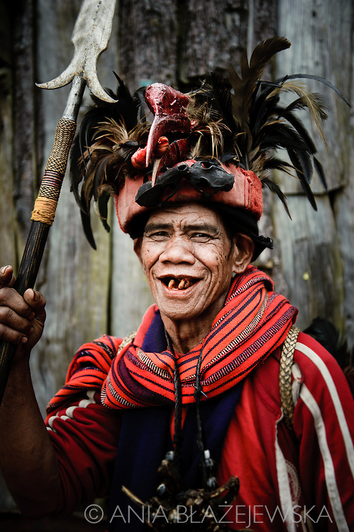 Philippines, Ifugao province. Banaue, Batad and Hapao are tiny villages hidden deep among the famous Ifugao, man-made rice terraces.Elderly Ifugao man wearing a traditional outfit.
