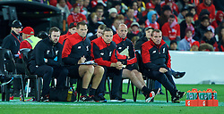 ADELAIDE, AUSTRALIA - Monday, July 20, 2015: Liverpool's manager Brendan Rodgers with goalkeeping coach John Achterberg, first-team development coach Pepijn Lijnders and first team coach Gary McAllister in action against Adelaide United during a preseason friendly match at the Adelaide Oval on day eight of the club's preseason tour. (Pic by David Rawcliffe/Propaganda)