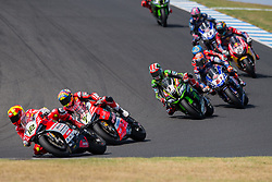 February 25, 2018 - Melbourne, Victoria, Australia - Spanish rider Xavi Fores (#12) of Barni Racing leads a pack of riders during the second race on day 3 of the opening round of the 2018 World Superbike season at the Phillip Island circuit in Phillip Island, Australia. (Credit Image: © Theo Karanikos via ZUMA Wire)