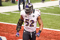 3 February 2013: Linebacker (52) Ray Lewis of the Baltimore Ravens reacts after stopping the San Francisco 49ers on four downs during the second half of the Ravens 34-31 victory over the 49ers in Superbowl XLVII at the Mercedes-Benz Superdome in New Orleans, LA.