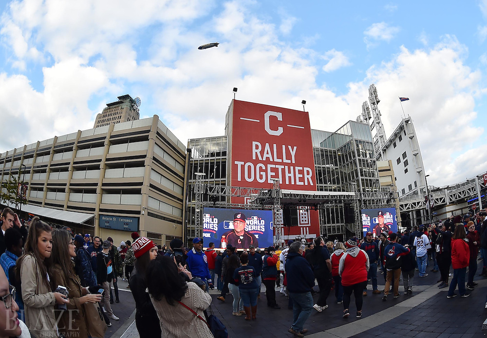 Oct 25, 2016; Cleveland, OH, USA; Baseball and basketball fans outside in Gateway Plaza before game one of the 2016 World Series between the Chicago Cubs and the Cleveland Indians at Progressive Field. Mandatory Credit: Ken Blaze-USA TODAY Sports