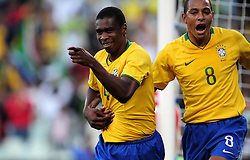 Juan (4) after scoring for Brazil and Silva Gilberto  during the third soccer match of the 2009 Confederations Cup between Brazil and Egypt played at Vodacom Park,Bloemfontein,South Africa on 15 June 2009.  Photo: Gerhard Steenkamp/Superimage Media.