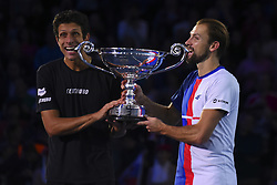 November 13, 2017 - London, England, United Kingdom - Lukasz Kubot (R) of Poland and Marcelo Melo of Brazil celebrates as they are given the Emirates ATP year end World Number One trophy after a presentation to them on the second day of the Nitto ATP World Tour Finals at O2 Arena, London on November 13, 2017. (Credit Image: © Alberto Pezzali/NurPhoto via ZUMA Press)