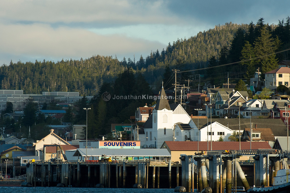 Morning view of downtown Ketchikan, Alaska from the harbor.