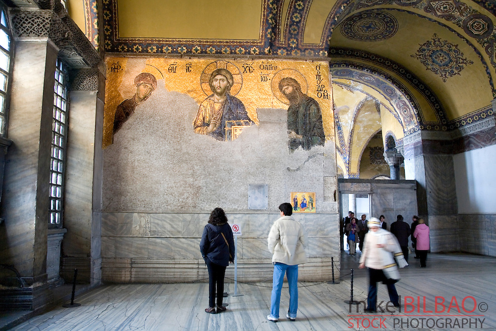 The De&euml;sis mosaic with Christ as ruler. Hagia Sophia museum interior view.<br /> Istanbul, Turkey (1)