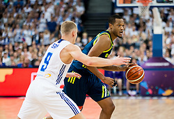 Sasu Salin of Finland vs Anthony Randolph of Slovenia during basketball match between National Teams of Finland and Slovenia at Day 3 of the FIBA EuroBasket 2017 at Hartwall Arena in Helsinki, Finland on September 2, 2017. Photo by Vid Ponikvar / Sportida