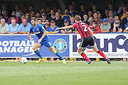 AFC Wimbledon defender Jon Meades (3) in action during the EFL Sky Bet League 1 match between AFC Wimbledon and Shrewsbury Town at the Cherry Red Records Stadium, Kingston, England on 24 September 2016. Photo by Stuart Butcher.