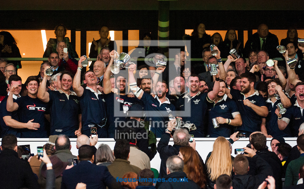 Oxford captain Henry Lamont of Oxford University lifts the trophy after winning The Mens Varsity Match match at Twickenham Stadium, Twickenham<br /> Picture by Jack Megaw/Focus Images Ltd +44 7481 764811<br /> 10/12/2015