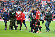 Manchester United Manager Louis van Gaal with Anthony Martial of Manchester United after the final whistle during the The FA Cup semi final match between Everton and Manchester United at Wembley Stadium, London, England on 23 April 2016. Photo by Phil Duncan.