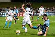 SYDNEY, AUSTRALIA - MAY 21: Kawasaki Frontale player Manabu Saito (19) trips over Sydney FC player Patrick Scibilio (34) at AFC Champions League Soccer between Sydney FC and Kawasaki Frontale on May 21, 2019 at Netstrata Jubilee Stadium, NSW. (Photo by Speed Media/Icon Sportswire)