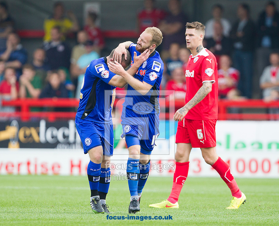 Matthew Done ( C ) of Rochdale celebrates with Stephen Dawson after scoring the opening goal during the Sky Bet League 1 match at Broadfield Stadium, Crawley<br /> Picture by Paul Terry/Focus Images Ltd +44 7545 642257<br /> 06/09/2014