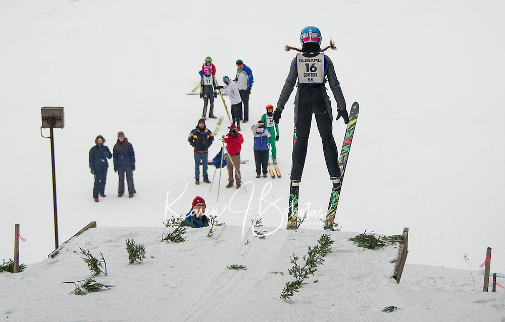 Ayla Weale U16 Lebanon Outing Club hitting the K20 jump at Gunstock Nordic Associations ski jump event held on Saturday morning.  (Karen Bobotas/for the Laconia Daily Sun)