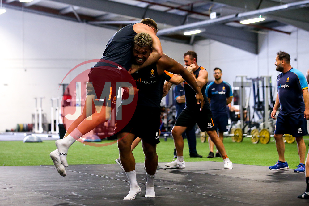 Ollie Lawrence and Perry Humphreys of Worcester Warriors during preseason training ahead of the 2019/20 Gallagher Premiership Rugby season - Mandatory by-line: Robbie Stephenson/JMP - 06/08/2019 - RUGBY - Sixways Stadium - Worcester, England - Worcester Warriors Preseason Training 2019
