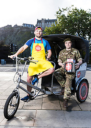 Edinburgh Big Curry 2017 kicks off Soldiers' Charity UK Campaign <br />  <br /> ABF The Soldiers' Charity today welcomed 150 guests from businesses and organisations across Scotland to a major event at the city's Assembly Rooms. <br /> <br /> Now in its 5th year, the Edinburgh Big Curry 2017 gives diners the opportunity to come together annually to share in speciality curries freshly prepared by chefs at the venue. <br /> <br /> Pictured: Officer Cadet Calum Murdoch from City of Edinburgh University training Corps and rickshaw rider, Roy Shepherd