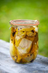 Pickled artichokes in kiln jar