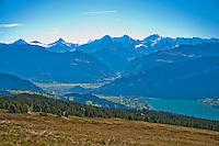 Looking down on Interlaken, across to Grindelwald from the Niederhorn in the Swiss Alps, Berner Oberland, Switzerland.
